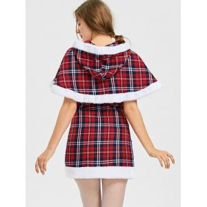 Plaid Hooded Capelet with Tube Dress - CHECKED S