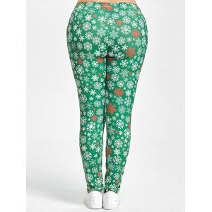 Christmas Snowflake Printed Plus Size Leggings -