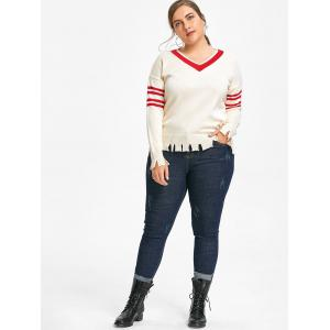 Plus Size Patches Skinny Frayed Hem Jeans -