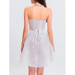 white s gothic lace up fit and flare corset cocktail dress