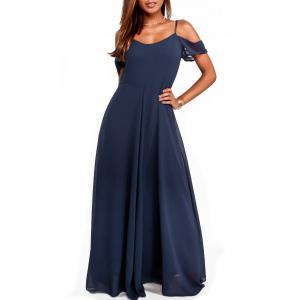 Chiffon Cold Shoulder Maxi Flowy Dress -