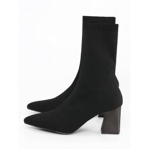 Block Heel Pointed Toe Fold Over Boots -