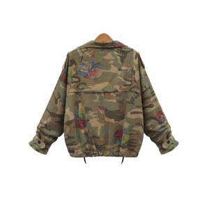 Plus Size Zip Up Camouflage Jacket -