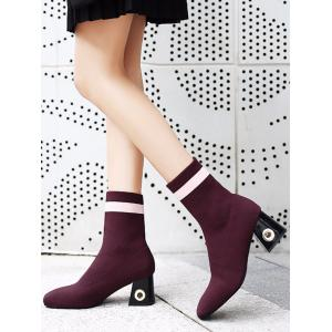Chunky Heel Grommet Striped Boots -