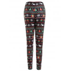 Christmas Tree Elk Snowflake Printed Plus Size Leggings -