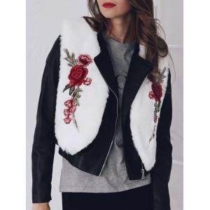 Floral Embroidered Collarless Faux Fur Vest -