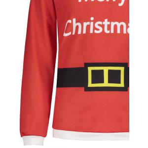 V Neck Belt Print Merry Christmas Tee -