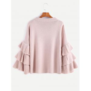 Layered Sleeve Flouncy Pullover Sweater -