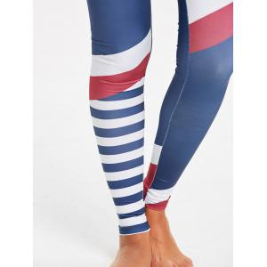 Leggings de compression rayés à haut rayures -