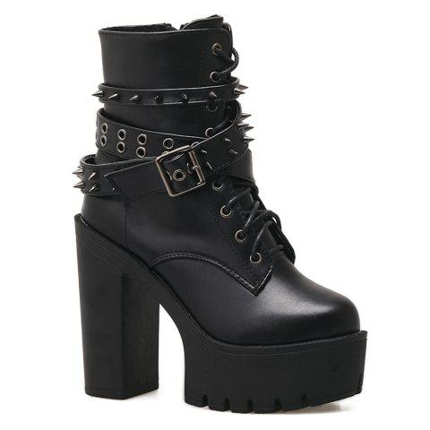 Buckle Strap Rivets Chunky Heel Boots - Black 35 factory outlet sale online clearance great deals LDlFIQ0c