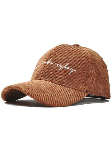 Store Outdoor Letter Pattern Embroidery Corduroy Baseball Hat