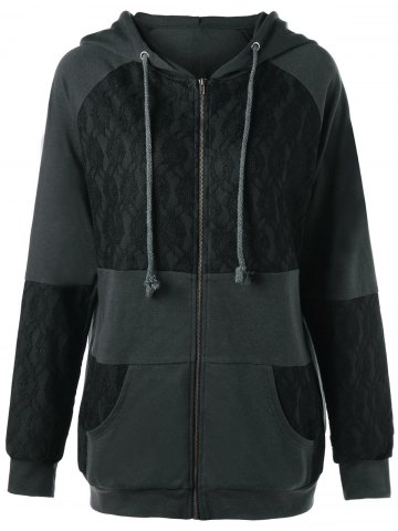 Shop Lace Panel Plus Size Zip Up Hooded Coat