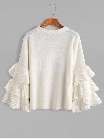 Buy Layered Sleeve Flouncy Pullover Sweater - ONE SIZE WHITE Mobile