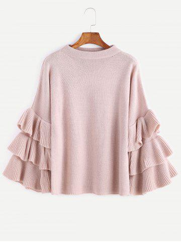 Unique Layered Sleeve Flouncy Pullover Sweater - ONE SIZE PINK Mobile
