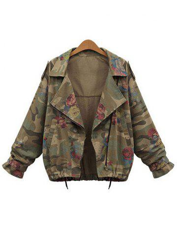Store Plus Size Zip Up Camouflage Jacket
