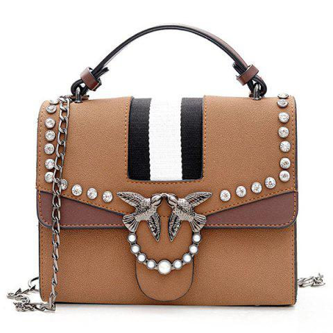 Shop Striped Birds Embellished Rhinestone Crossbody Bag