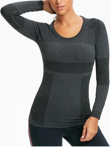 Sale Ribbed Stretch Workout Long Sleeve Tee shirt