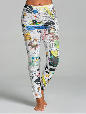 Leggings de gymnastique funky imprimé de graffiti High Rise