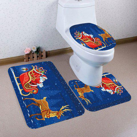 Store Nonslip Christmas Carriage Printed 3Pcs Bath Toilet Mats Set