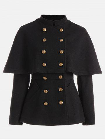 Cheap Double Breasted High Waist Short Capelet Coat