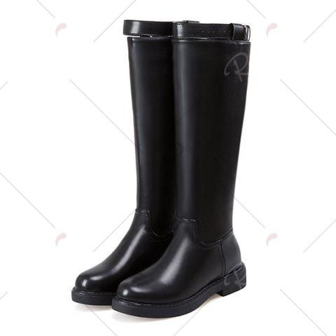 Online Buckled Back Zip Faux Leather Mid-calf Boots