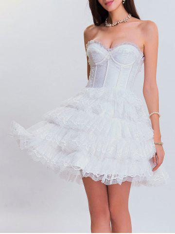 Sale Club Eyelet Tiered Lace Corset Dress