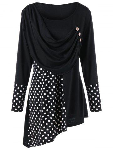 Outfit Plus Size Polka Dot Ruched Asymmetrical Top