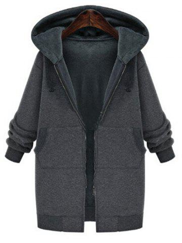Cheap Plus Size Faux Fur Lining Hooded Coat