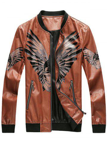 Funny Bird Printed Faux Leather Bomber Jacket