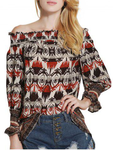 Tribal Print Off The Shoulder Tunic Blouse
