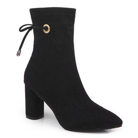 Suede High Heel Lace Up Ankle Boots