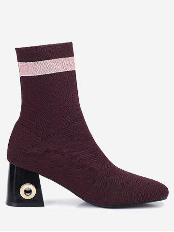 Fancy Chunky Heel Grommet Striped Boots