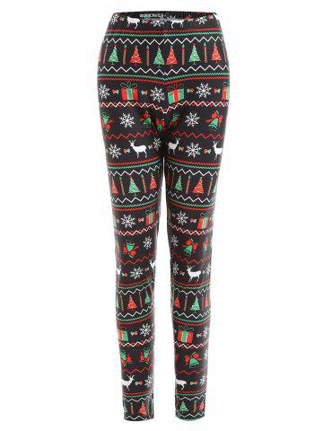 Chic Christmas Tree Elk Snowflake Printed Plus Size Leggings