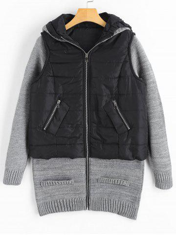 Knit Panel Padded Longline Hooded Coat