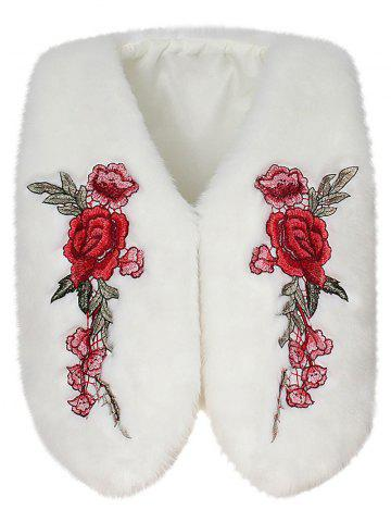 New Floral Embroidered Collarless Faux Fur Vest