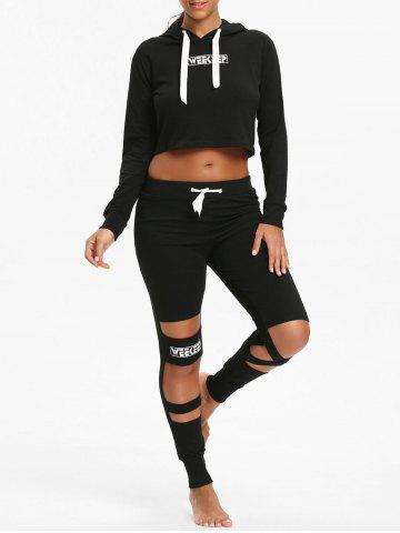 Unique Crop Hoodie and  Cutout Letter Sports Leggings