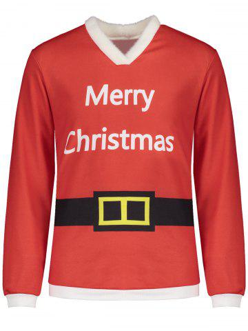 Fancy V Neck Belt Print Merry Christmas Tee