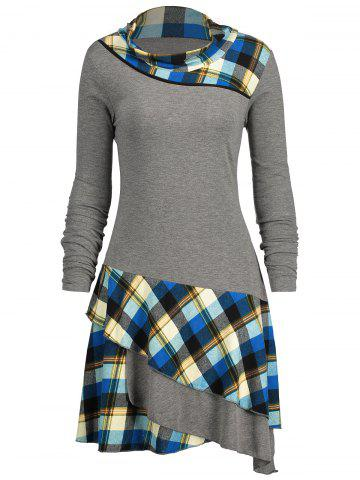Store Plaid Panel Long Sleeve Layered Dress