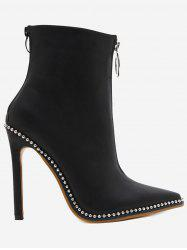 Stiletto Heel Rivets Pointed Toe Boots -