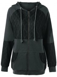 Lace Panel Plus Size Zip Up Hooded Coat -
