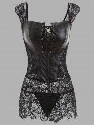 Lace Panel See Through Plus Size Leather Corset -