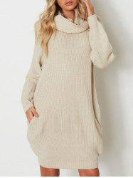 Raglan Sleeve Heaps Collar Pull Dress -