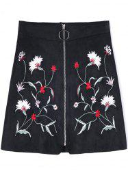Zip Up Floral Embroidered A-line Skirt -