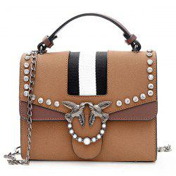 Striped Birds Embellished Rhinestone Crossbody Bag -