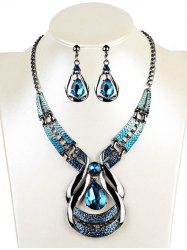 Vintage Water Drop Shape Faux Sapphire Necklace Earrings Set -