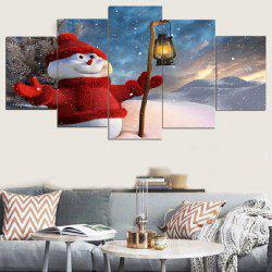 Taking Lamp Snowman Print Unframed Canvas Paintings -