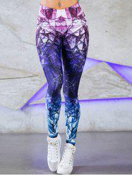 Ombre Geometric Printed Active Leggings -