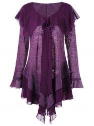 Plus Size Panel Long Sleeve Asymmetric Tiered Dress -