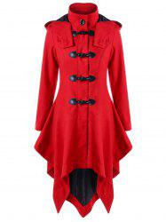 Horn Button Hooded Christmas Handkerchief Coat -