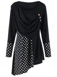 Plus Size Polka Dot Ruched Asymmetrical Top -